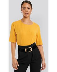 NA-KD - Round Neck Ribbed Tee - Lyst