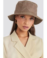 NA-KD Checked Bucket Hat Brown