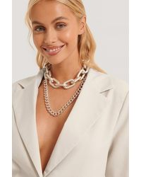 NA-KD Accessories Double Pack Oversize Chain Necklaces - Mettallic