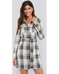 NA-KD - Plaid Belted Shirt Dress - Lyst