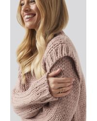 NA-KD Wool Blend Shoulder Detail Knitted Sweater - Roze