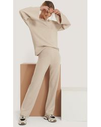 NA-KD Beige Wide Leg Knitted Pants - Natural