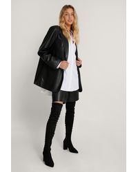 NA-KD Black Faux Suede Overknee Boots