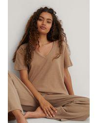 Trendyol Brown V-neck Pyjamas Set - Natural
