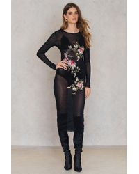 Glamorous - Embroidered Long Sleeve Dress - Lyst