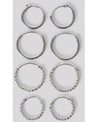 NA-KD Mini Hoop Earring Set - Metallic