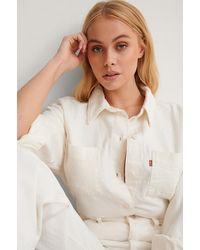 Levi's White Zoey Pleat Utility Shirt