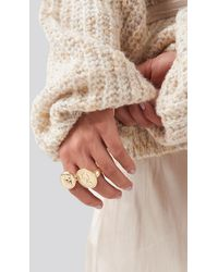 NA-KD Oversized Coin Ring Gold - Metallic
