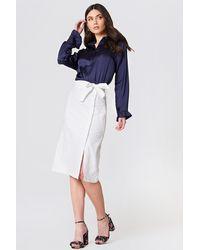 NA-KD Button Linen Look Midi Skirt - Blanc