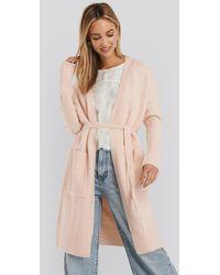 NA-KD Chunky Knit Long Cardigan - Roze