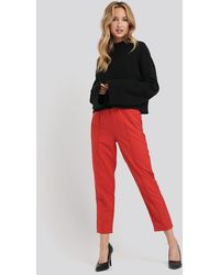 NA-KD Elastic Waist Seamline Pants - Rood