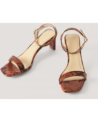 NA-KD Snake Basic Block Heel Sandals - Meerkleurig