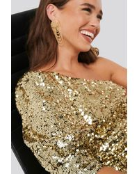 NA-KD One Shoulder Puff Sleeve Sequin Dress Gold - Metallic