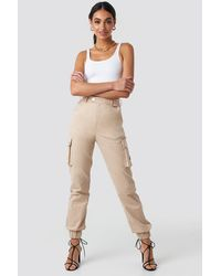 NA-KD Cargo Trousers Beige - Natural