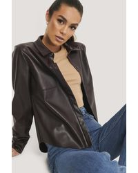 NA-KD Brown Faux Leather Loose Fit Shirt