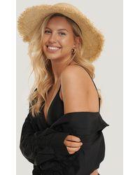 NA-KD Beige Raw Edge Straw Hat - Natural