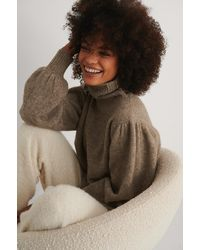 NA-KD Trend Wool Blend Knitted Polo Neck Sweater - Bruin