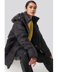 NA-KD Drawstring Padded Jacket - Zwart