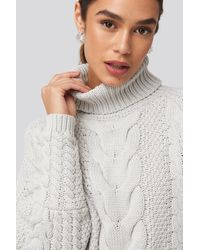 NA-KD - High Neck Cable Knitted Ribbed Sleeve Sweater - Lyst