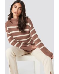 NA-KD High Neck Striped Knitted Sweater - Pink