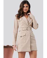 NA-KD Hannalicious x Cargo Blazer Dress - Natur