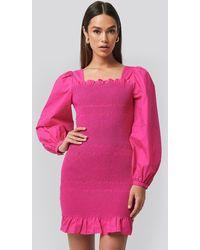 NA-KD - Trend Smocked Mini Dress - Lyst