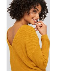 NA-KD Yellow Knitted Deep V-neck Jumper - Multicolour
