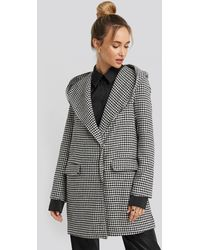 Trendyol Black Black Goose Leg Patterned Hooded Coat