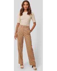 NA-KD Beige Mid Rise Creased Suit Trousers - Natural