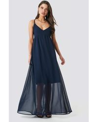 NA-KD V-neck Cross Back Maxi Dress - Blauw