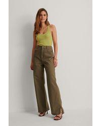 NA-KD Trend Organisch Denim Pantalon - Bruin
