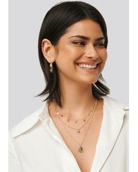 NA-KD Star And Coin Layered Necklace - Metallic