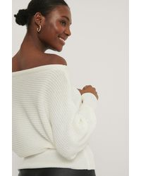 NA-KD Off Shoulder Knitted Sweater - Wit