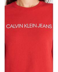Calvin Klein Ïnstitutional Regular Crew Neck Sweatshirt - Rood