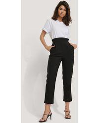 NA-KD High Waist Straight Pants - Noir