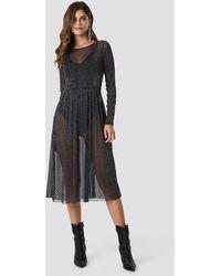 Rut&Circle Glitter Mesh Dot Dress - Noir