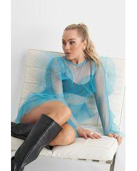 NA-KD Angelica Blick X Tulle Flounce Mini Dress - Blauw