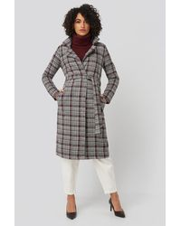 Trendyol Multi Color Plaid Long Coat Multicolor