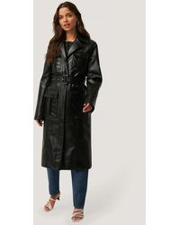 NA-KD Black Pu Pocket Coat