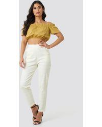 Trendyol White Milla Plaid Trousers