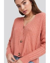 NA-KD Button Up Ribbed Cropped Cardigan - Pink