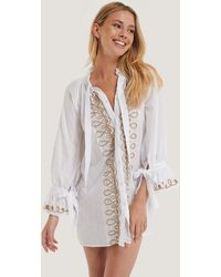 Trendyol White Embroidered Voile Beach Dress