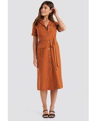 Trendyol Buttoned Midi Dress - Oranje