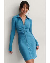 NA-KD Trend Robe À Boutons - Bleu