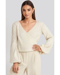 Trendyol Puff Sleeve Wrap Knitted Sweater - Wit