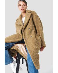 NA-KD - Big Collar Teddy Coat Brown - Lyst