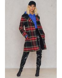Trendyol Checked Collar Coat - Red