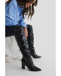 NA-KD Black Slouchy Shaft Knee Boots