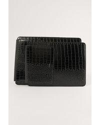 NA-KD Black Croc Laptop Case