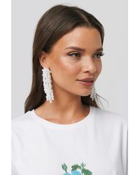 NA-KD Pearl Dropping Earrings - Blanc